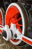 Detail and close up of huge wheels at one old german steam locom Stock Image