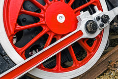 Detail and close up of huge wheels at one old german steam locom Royalty Free Stock Photography