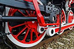 Detail and close up of huge wheels at one old german steam locom Stock Images