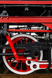 Detail and close up of huge wheels at one old german steam locomotive Stock Images