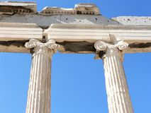 Detailed and close-up view of ancient Greek columns. stock image
