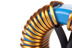 Detail Close-up View of a Industrial Toroidal Choke Coil Royalty Free Stock Image