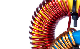 Detail Close-up View of two Industrial Toroidal Choke Coils Royalty Free Stock Photo