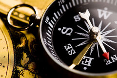 Detail closeup compass Royalty Free Stock Images
