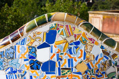 Detail closeup of mosaic in Park Guell, Barcelona. Spain Royalty Free Stock Image