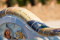 Detail closeup of mosaic in Park Guell, Barcelona. Spain Stock Photos