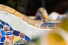 Detail closeup of mosaic in Park Guell, Barcelona. Spain Royalty Free Stock Photo