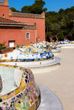 Detail closeup of mosaic in Park Guell, Barcelona. Spain Stock Photo