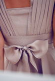 Detail on clothing or large silk chiffon bow on a beige dress Stock Images