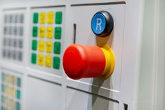 Detail of CNC machine control panel. Shallow depth of field stock photography