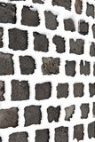 Detail of cobble stone paveway in winter with snow Royalty Free Stock Photo