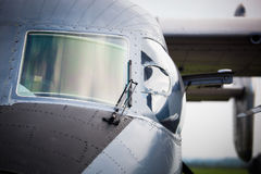 Detail of cockpit of military airplane Stock Photo