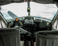 Detail of the cockpit of an old seaplane. Used for sightseeing Royalty Free Stock Images