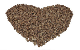Detail of coffee beans. Shaped as a heart Stock Photos