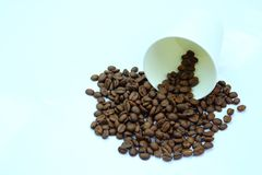 Coffee beans with paper cup. Detail of coffee beans with paper cup Royalty Free Stock Photo