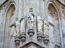 Detail of Cologne city hall, with sculputres of historic kings and emperors Stock Photos