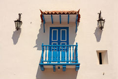 Detail of a colonial house. Typical balcony  in Cartagena de Ind Stock Photos