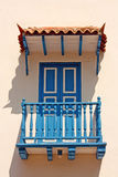 Detail of a colonial house. Typical balcony  in Cartagena de Ind Royalty Free Stock Images