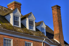Colonial style. Detail of colonial style architecture of upper level of home in Williamsburg, Virginia Royalty Free Stock Image