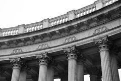 Detail the colonnade of the Kazan Cathedral. Stock Photo