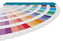Detail of color guide swatches used in prepress isolated over wh. Color chart to use in prepress and commercial printing isolated over white. Cyan, magenta and Stock Photo