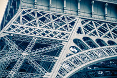 Detail color toned view of Eiffel Tower Stock Photos
