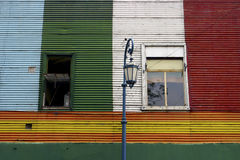Detail of colored architecture in La Bocca Royalty Free Stock Image