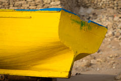Detail of Colored fishing boat on the beach of Sidi Kaouki Royalty Free Stock Photo