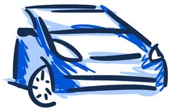 Detail of colorful car in blue tones isolated Royalty Free Stock Photos