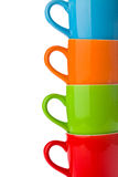 Detail of colorful ceramic mugs Royalty Free Stock Images