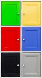 Detail of colorful doors with nice handles Stock Images