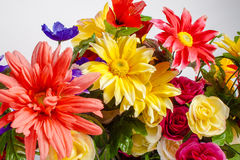 A detail of colorful fabric flowers. Royalty Free Stock Images