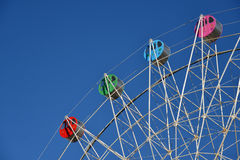Detail of a colorful ferris wheel stock images