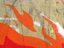 Detail of colorful graffiti fire Stock Images