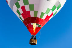 Detail colorful hot air balloon in flight flame propane Royalty Free Stock Image