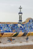 Detail of colorful mosaic work on the main terrace of Park Guell Stock Image