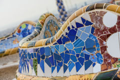 Detail of colorful mosaic work on the main terrace of Park Guell Royalty Free Stock Photos
