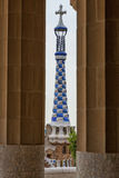 Detail of colorful mosaic work of Park Guell. Barcelona of Spain. Detail of colorful mosaic work of Park Guell. In 1984 UNESCO declared the park a World Heritage Royalty Free Stock Photo