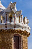 Detail of colorful mosaic work of Park Guell. Barcelona of Spain Stock Photo