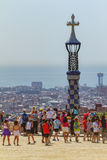 Detail of colorful mosaic work of Park Guell. Royalty Free Stock Photos