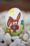 Detail of colorful painted Easter eggs with different forms and Royalty Free Stock Images