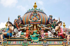 Detail of Colorful Sri Mariamman Temple in Singapore Royalty Free Stock Photography