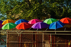 Detail of colorful umbrellas on a roof of a small building in Belgrade Stock Photos