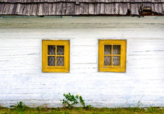 Detail of colorful windows on old traditional house Stock Images