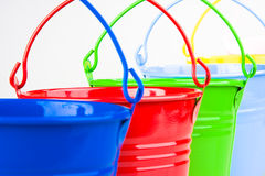 Detail of coloured buckets Royalty Free Stock Photos