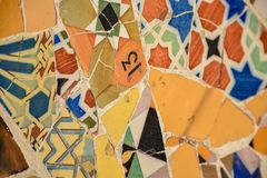 Detail from a colourful mosaic of broken ceramics with the numbe stock photos