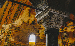 Detail of a column inside Hagia Sophia in Istanbul. Royalty Free Stock Images
