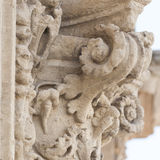 Detail of column and ornaments in baroque style Royalty Free Stock Photos