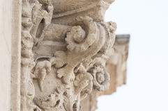 Detail of column and ornaments in baroque style Royalty Free Stock Photography