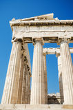 Detail of the columns in the famous Parthenon temple in the Acropolis, Athens, Greece. Royalty Free Stock Photo
